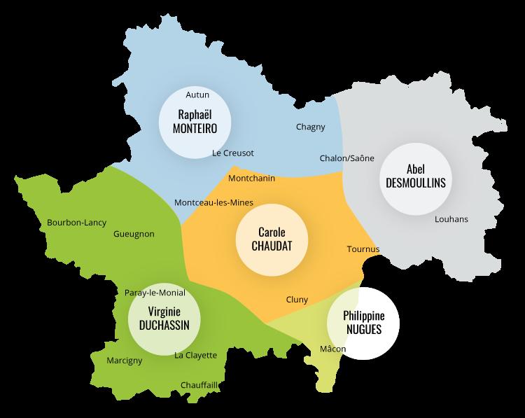 Carte des secteurs commerciaux D.Hygi.Pro